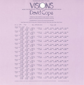 Visions - Music for Orchestra, 2 Pianos and Computer-Generated Tape: By David Cope