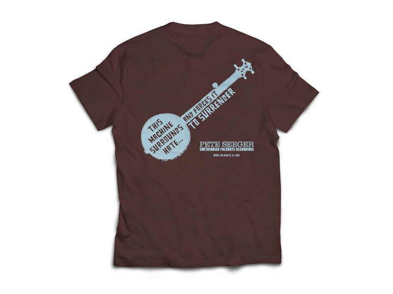 Woody Guthrie/Pete Seeger T-Shirt Front in Dark Chocolate